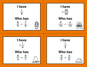 Thanksgiving Math: I Have, Who Has - Dividing Fractions