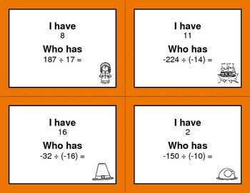 Thanksgiving Math: I Have, Who Has - Dividing Integers