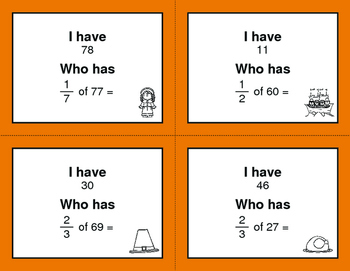 Thanksgiving Math: I Have, Who Has - Fractions of a Set