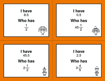 Thanksgiving Math: I Have, Who Has - Fractions to Decimals