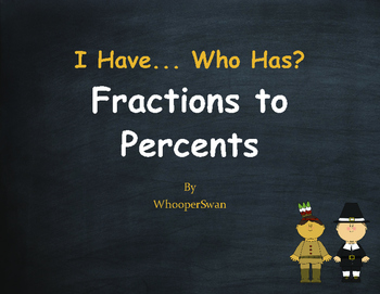 Thanksgiving Math: I Have, Who Has - Fractions to Percents