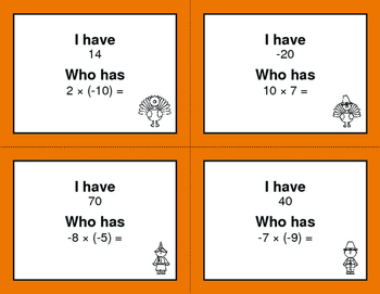 Thanksgiving Math: I Have, Who Has - Multiplying Integers