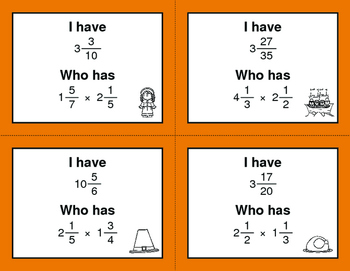 Thanksgiving Math: I Have, Who Has - Multiplying Mixed Fractions