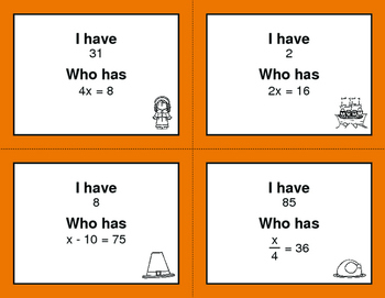Thanksgiving Math: I Have, Who Has - One Step Equations (Mixed Operations)