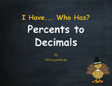 Thanksgiving Math: I Have, Who Has - Percents to Decimals