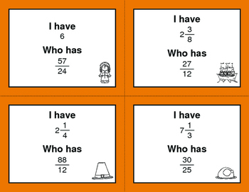Thanksgiving Math: I Have, Who Has - Simplifying An Improper Fractions