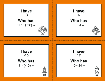 Thanksgiving Math: I Have, Who Has - Subtracting Integers