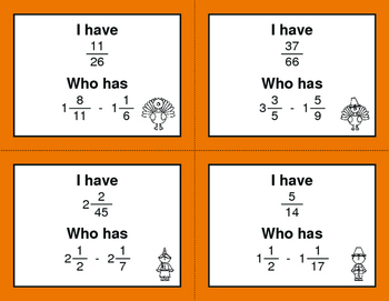 Thanksgiving Math: I Have, Who Has - Subtracting Mixed Fractions