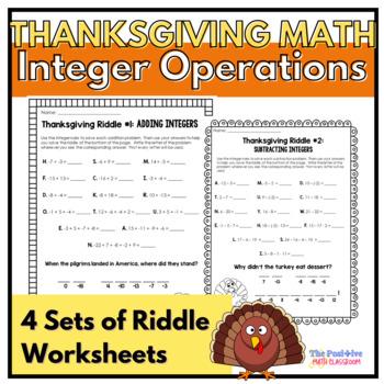 Thanksgiving Math Riddles: Integer Operation Worksheet Set