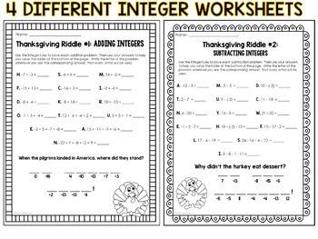 thanksgiving math riddles integer operation worksheet set tpt. Black Bedroom Furniture Sets. Home Design Ideas