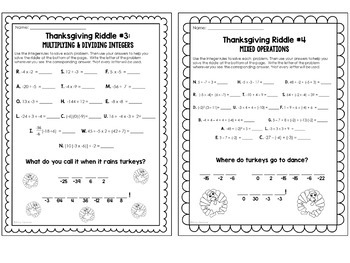 Thanksgiving Math Riddles Integer Operation Worksheet Set