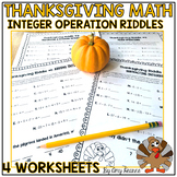 Thanksgiving Math Worksheets: Integer Operation Riddles