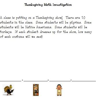 Thanksgiving Math Investigation: Using 3 Addends to Create a Sum of 10 (K-1)