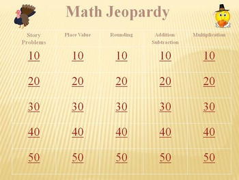 Thanksgiving Math Jeopardy