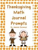 Thanksgiving Math Journal Prompts