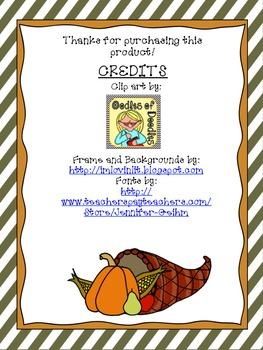 November Math Journal Questions - 1st Grade