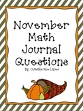 November Math Journal Questions - 1st Grade