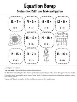 Thanksgiving Math Kindergarten+ Bump Games Bundle
