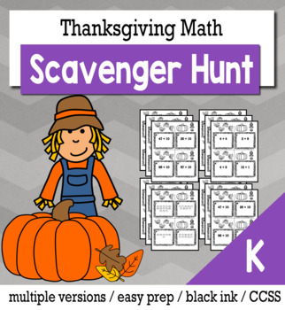 Thanksgiving Math Kindergarten Scavenger Hunt Game Bundle