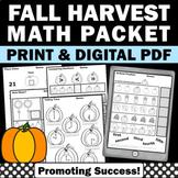 Thanksgiving Math Kindergarten Worksheets, Thanksgiving No Prep Packet Sub Plans