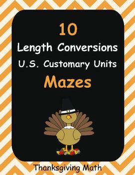 Thanksgiving Math: Length Conversions Maze - U.S. Customary Units
