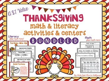 Thanksgiving Math & Literacy Activities and Centers