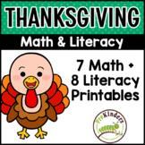 Thanksgiving Math & Literacy BUNDLE - Pre-K   Preschool   Kinder
