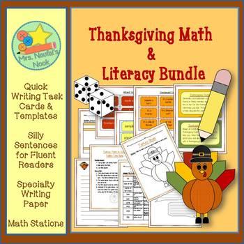Thanksgiving Math & Literacy Bundle - Math Games, Writing Tasks, Word Work