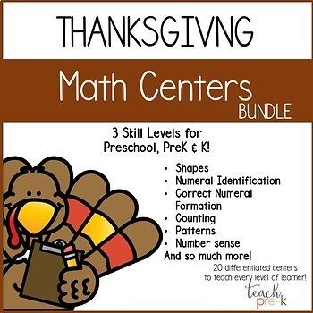 Thanksgiving Math & Literacy Centers Mega-Bundle for Preschool, PreK, & K