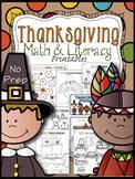 Thanksgiving Math & Literacy No Prep Printables for K-1