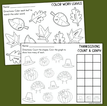 Thanksgiving Math and Reading Worksheets for Kindergarten