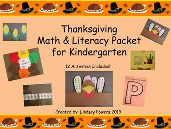 Thanksgiving Math & Literacy Packet for Kindergarten