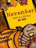 Thanksgiving Math & Literacy Printables NO PREP