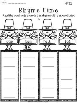 Thanksgiving Math & Literacy Printables NO PREP