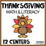 Thanksgiving Math and Literacy Centers for Pre-K and Kinde