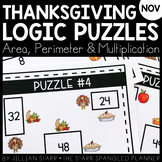 Thanksgiving Math Logic Puzzles- Area, Perimeter and Multi