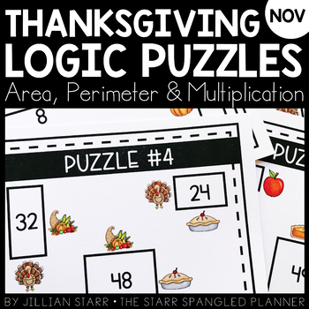 Thanksgiving Math Logic Puzzles- Area, Perimeter and Multiplication