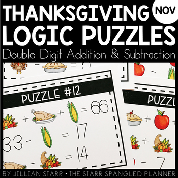 Thanksgiving Math Logic Puzzles- Double Digit Addition and Subtraction