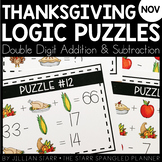 Thanksgiving Math Logic Puzzles- Double Digit Addition and