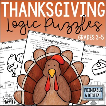 Thanksgiving Math Logic Puzzles {Thanksgiving Activities for Grades 3-4}