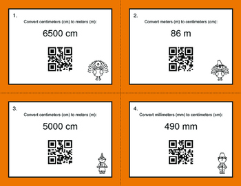 Thanksgiving Math: Metric Length Conversions QR Code Task Cards