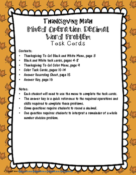 Thanksgiving Math Mixed Operations Decimal Task Cards