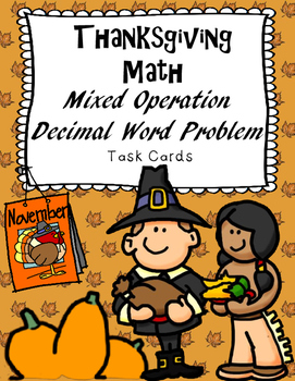 Thanksgiving Math Mixed Operations Decimal Task Cards