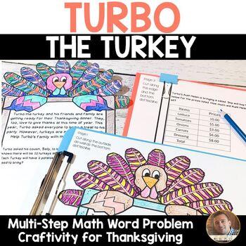 Thanksgiving Math: Multi-Step Word Problem Craftivity for Grades 2-5
