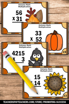 Thanksgiving Math Activities Games Multiplication Facts Task Cards 4th Grade