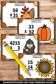 Thanksgiving Multiplication Centers, 4th Grade Math Thanksgiving SCOOT