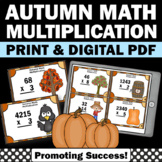4th Grade Thanksgiving Math Activities, 4th Grade Multiplication Task Cards