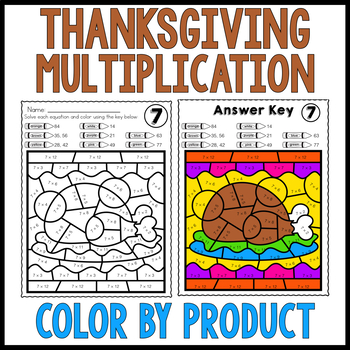 THANKSGIVING MATH | Multiplication Color by Number Worksheets