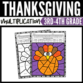Thanksgiving Math Multiplication Color by Number ...