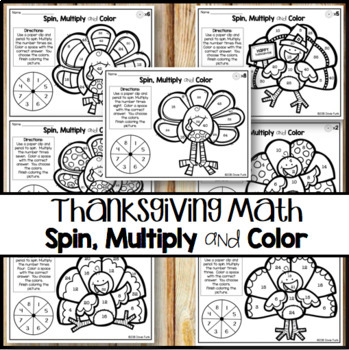 Thanksgiving Math Multiplication Coloring Worksheets  Spin Solve and Color